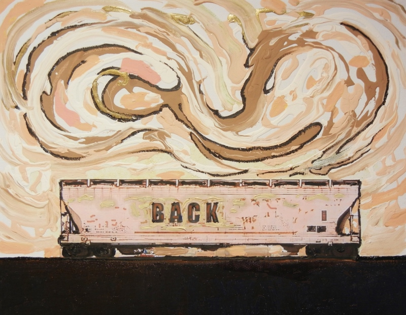 BACKray - Storage Cars 11 X 14 oil, acrylic, ink collage on profile canvas, black painted edge $880