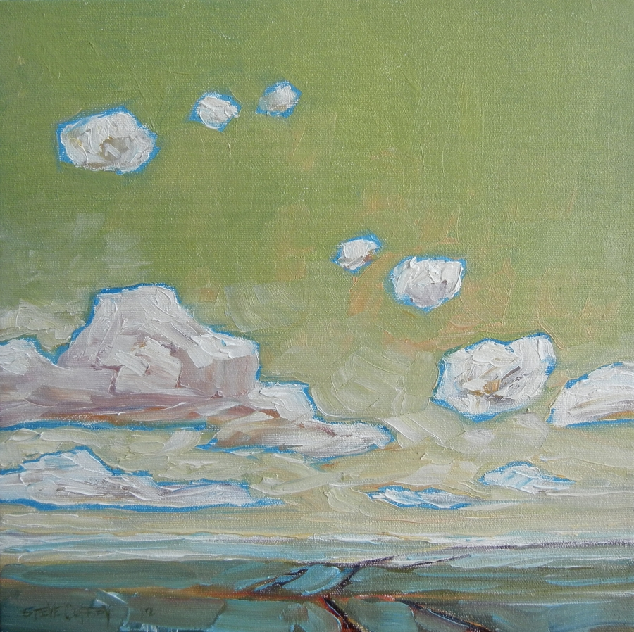 Green Sky, Oil 12 X 12 $1055 without frame $1165 with frame
