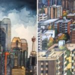 Downtown Calgary (diptych) 9 x 24 Varnished Watercolour on birch panel $1155