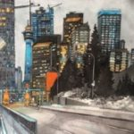 Calgary Tower 14 x 18 Varnished Watercolour on birch panel $1120